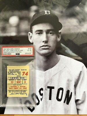 1957 New York Yankees Boston Red Sox Ticket Ted Williams Grand Slam HR #454
