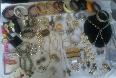 Large Lot Of Vintage Costume Jewelry 70+ pcs.(Wearable)