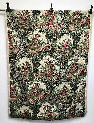 Antique Vtg 1930s-40s French Linen Fabric Hand Blocked Pastoral Print 7.5+ Yds