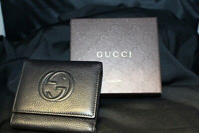 307af8d8d896 Authentic Gucci Tri-Fold Wallet 351485 - Black