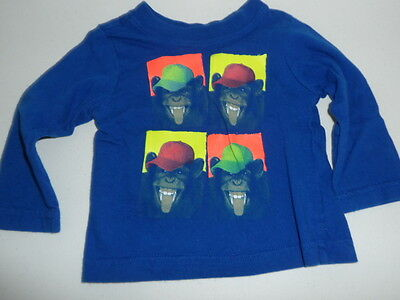 Childrens Place Baby Boys 6-9 Months Monkey Silly Faces Long Sleeve Shirt Blue