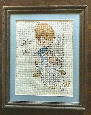 VINTAGE PRECIOUS MOMENTS Counted Cross Stitch Completed & Framed Love Is Kind