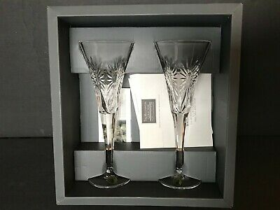 PAIR of WATERFORD CRYSTAL MILLENNIUM COLLECTION 2000 HEALTH TOASTING FLUTE (NEW)