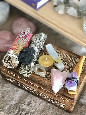 Crystal Magic Kit Smudges Carved Altar Box Reiki Full Moon charged Throne Home