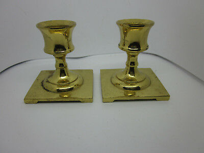 Vintage Solid Bronze Brass Candle Stick Holders Small Antique Square Cast 2-1/4""