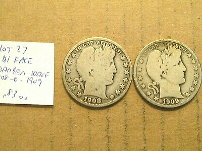 $1 Face~90% Silver~Barber Halfs~1908-o and 1909~Free Shipping~.83 oz~Lot 27!