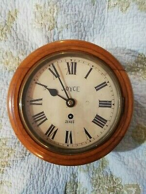 """8"""" inch Joyce of Whitchurch Oak Wall Clock Spring Driven Stamped 21615 On Dial"""