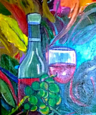 "Acrylic painting ""Wine Fest"" Terry Lash signed original, 8X10,Abstract, Bright"