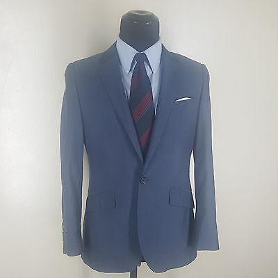 INDOCHINO Bespoke One Button Blazer Side Vents Wool & Cotton -Fit - 37-38 Short