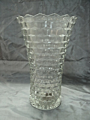 """Vintage Colony WHITEHALL Clear Cubist 10"""" Flared Flower Vase Disc'd 1970's EC"""
