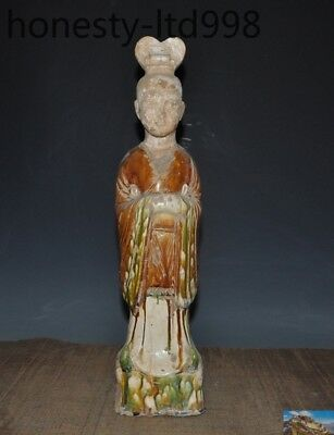 A Old Chinese Tang SanCai Porcelain Pottery Handmade Ancient fairy Maid Statue