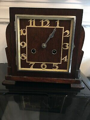 Vintage Art Deco Haller Foreign Oak Wood Mantle Clock Chime Popular Progess Key