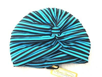 157a4f97 Jeanne Simmons Accessories Women's Turban Hat Turquoise Blue & Black Stripe  NWT