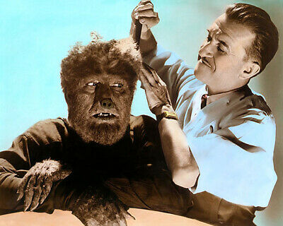 "LON CHANEY Jr  JACK PIERCE THE WOLF MAN 1941 4x6"" HAND COLOR TINTED PHOTOGRAPH"