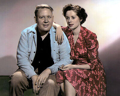"CHARLES LAUGHTON ELSA LANCHESTER HOLLYWOOD ACTORS 8x10"" HAND COLOR TINTED PHOTO"
