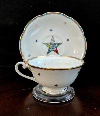 Vintage 1950s Lefton China Order of the Eastern Star OES Tea Cup and Saucer