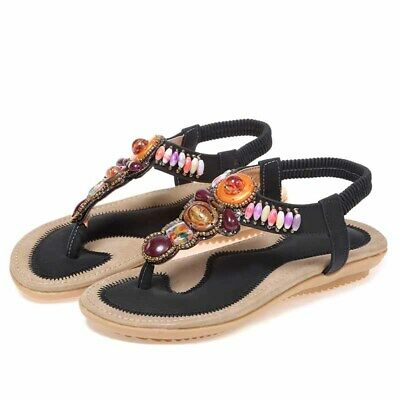 4e70103cde60 Women s Leather Flip Flop Shoes Boho Beach Sandals Summer Rhinestone Flat  Shoes