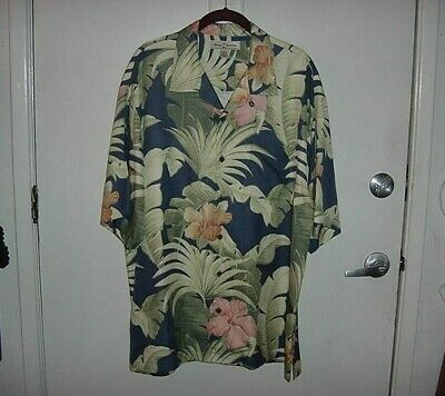 b7a21d17 MEN'S TOMMY BAHAMA Hibiscus and Palm Leaves Hawaiian Shirt..Size XL ...