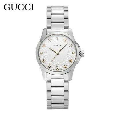b84e3ec4c7a NWT GUCCI G-Timeless Silver Dial Stainless Steel Ladies Watch YA126572