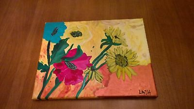 "Acrylic painting ""flower garden"" 11X14Terry lash signed original abstract"