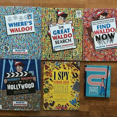 Lot 6 WHERE'S WALDO I SPY Books 4 HC Martin Hanford FIND Great Search HOLLYWOOD