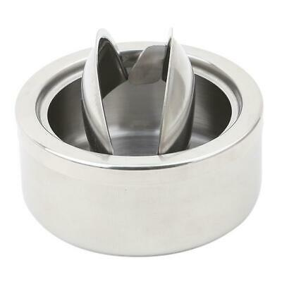 Round Stainless Steel Cigarette Lidded Ashtray Silver Windproof Ashtray Case FW