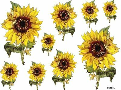 VinTaGe IMaGe BriGhT YeLLoW SuNFLoWerS ShaBbY WaTerSLiDe DeCALs TRaNsFeRs