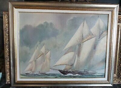 "Oil Painting Over Print On Canvas ""racing Sail Boats"" Framed"