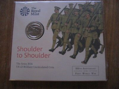 The Army 2016 UK Royal Mint 2 pound Brilliant Un circulated Coin WW1 SEALED NEW