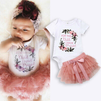 AU Baby Girl 1st Birthday Party Dress Floral Bodysuit Tutu Skirt Outfit Clothes