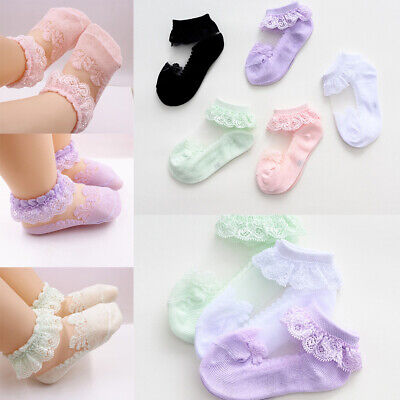 0-5Y Toddler Baby Kids Girls Cotton Lace Socks Soft Cute Frilly Sock Acces
