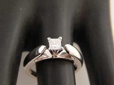 Magic Glo .33 ct (marked) Princess Solitaire Diamond Engagement Ring 14k WG D/SI