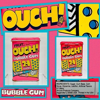 Vintage Pink 1992 Amurol OUCH Bandaid Bubble Gum Container candy tin box