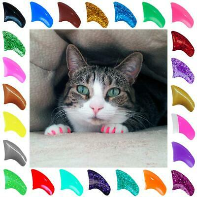 Soft Purrdy Paws Nail Caps for Cat Claws Grooming ~ 1 YEAR supply EXTRA ADHESIVE