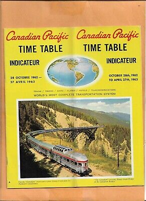 Canadian Pacific Timetables 1962 / 1963 Vintage