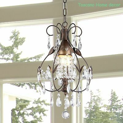 Rustic Crystal Chandelier Vintage Lighting Light Fixture Antique Brushed Oak OY!