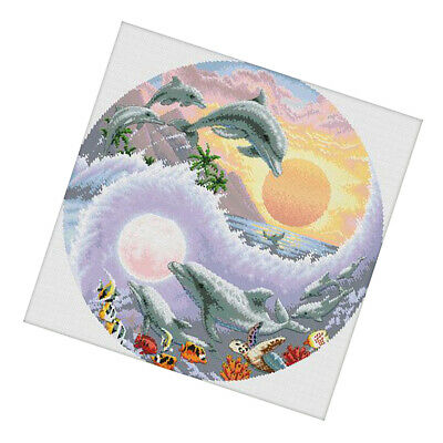 Dolphins Pre Printed Cross Stitch Kit for Teen Girls 11CT Counted Stamped Home Decor
