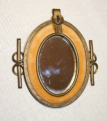 antique ornate 1800's Victorian gilt bronze velour mini oval wall mirror frame