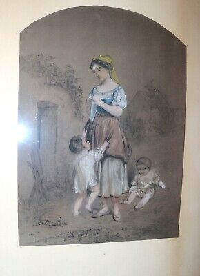 antique 19th century original figural mother painting pastel charcoal drawing