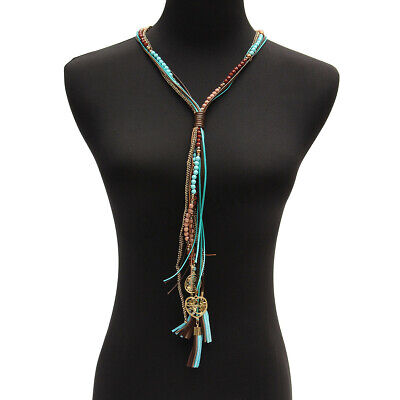 Bohemian Style Women Ethnic Long Tassel Leather Rope Collar Charm Necklace Gifts