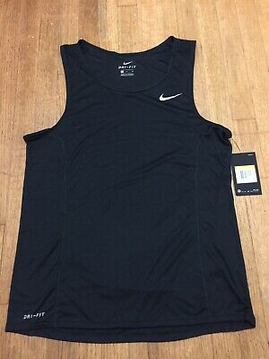 a5460131bfd730 Nike Dri-Fit Miler Men s Running Tank Top Black 872014 010 NEW WITH TAG Sz