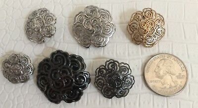 CHANEL BUTTONS 6X CC Logo Gold Black Silver Metal Floral 18mm-28mm NEW