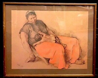 Francisco Zuniga Offset Lithograph Mother and Child, Signed, Framed with glass