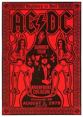 ACDC 1979 Red - Concert A3 VINTAGE BAND POSTERS Music Rock Blues Old Advert #ob