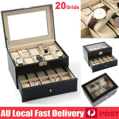20 Grids Watch Jewelry Storage Hold Box Watches Display Jewelry Collection Gift