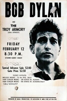 Bob Dylan Feb 12 - Concert A3 VINTAGE BAND POSTERS Music Rock Old Advert #ob