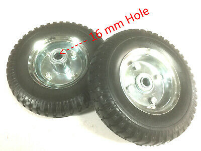 "2 pcs x 8"" Hand Trolley Wheel puncture proof 2.50-4 Solid Heavy Duty No Air 16mm"