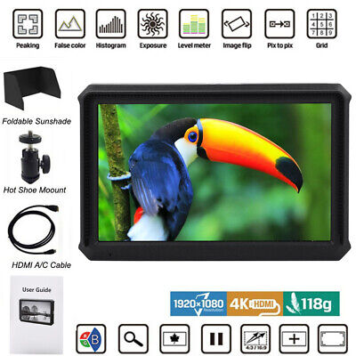 "Lilliput A5 5"" IPS 4K 1920x1080 400cd㎡ HD DSLR Camcorder Camera Field Monitor BS"