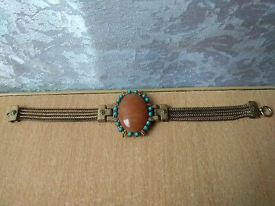 Vintage Retro old bracelet gold plated with stones Wonderful Metal Nice