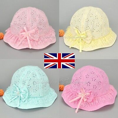 Girls Mesh Baby Kids Embroidered Beach Cap Bow Flower Cute Summer Bucket Hat Sun